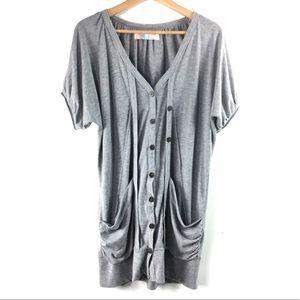 Free People Short Sleeve Gray Cardigan Women's M